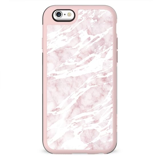 Girly Pink and White Modern Marble