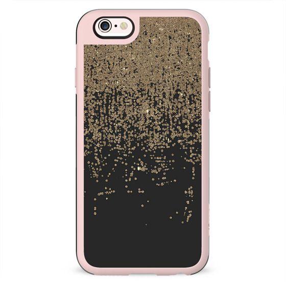 Glamorous Faux Gold Confetti Glitter Modern Ombre Black