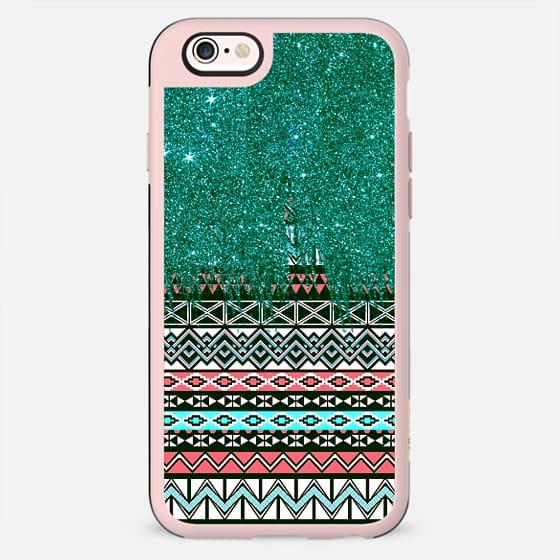 Pink and Teal Aztec Tribal Pattern with Faux Glitter Brush Strokes - New Standard Case