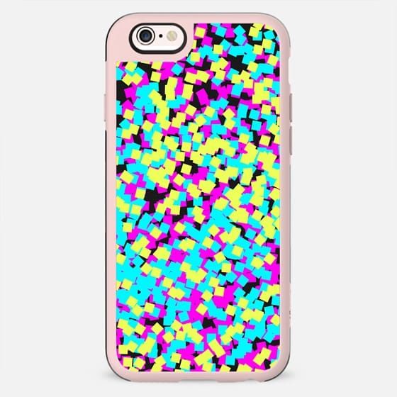 Crazy Colorful Confetti Pattern in Neon Pink, Blue, and Yellow on Black Background - New Standard Case
