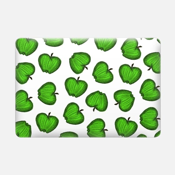 Bright Green Hand Drawn Granny Smith Fruity Apples Pattern on White -