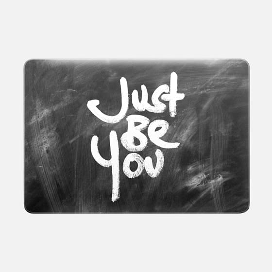 """Just Be You"" White Text Typography on Black Chalkboard -"