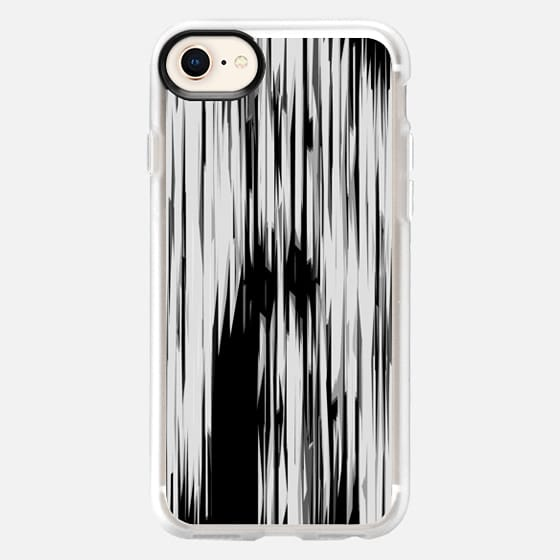 Black & White Jagged Linear Shapes Stripes Pattern - Snap Case