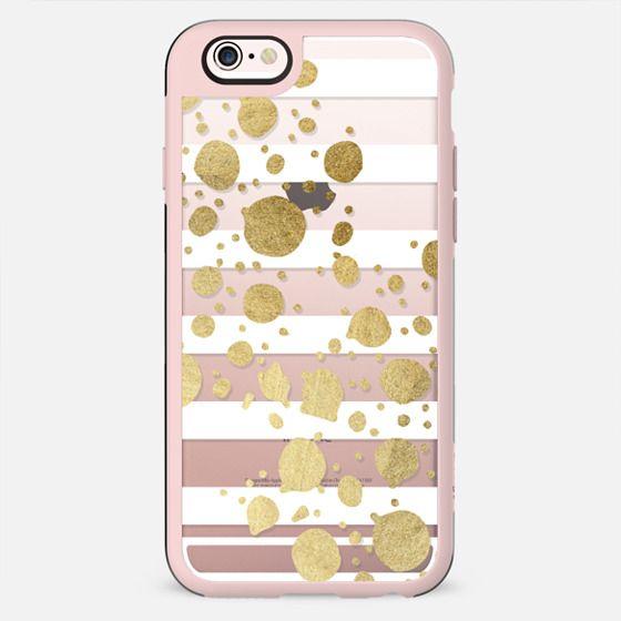 Elegant Faux Gold Paint Splatters and White Stripes- Transparent - New Standard Case