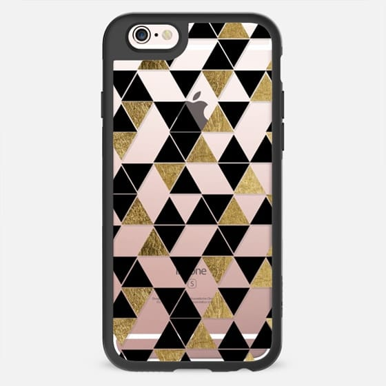 Modern Trendy Black and Faux Printed Gold Geometric Triangles Pattern- Transparent -