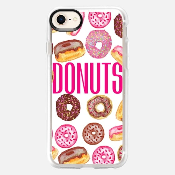 DONUTS Typography and Watercolor Assorted Donuts - Snap Case