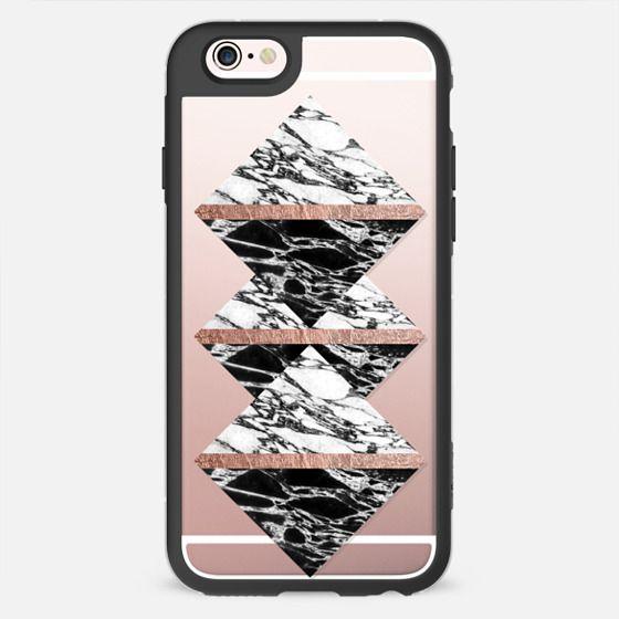 Modern Elegant Black White Marble Faux Rose Gold Stripe Pattern  - New Standard Case