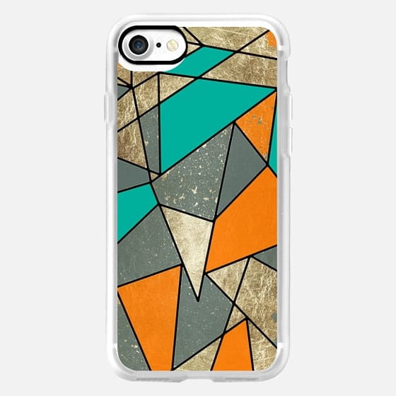 Modern Rustic Faux Gold Teal and Orange Fall Geometric Pattern -
