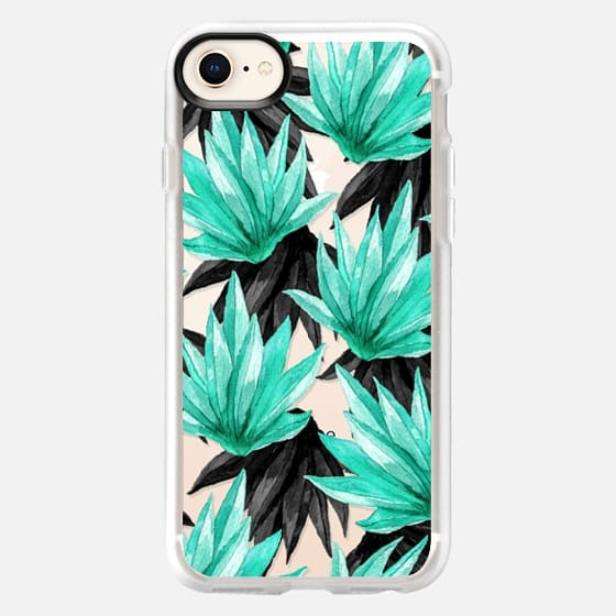 Tropical Watercolor Teal Black Plant Leave Pattern - Snap Case