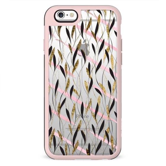 Chic Pink Watercolor Brushstrokes Faux Gold Black Leafy Vines