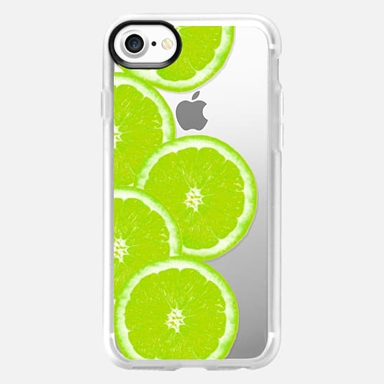 Refreshing Fruity Citrus Neon Green Limes Summer Pattern on Transparent Background - Classic Grip Case