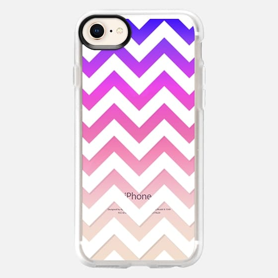 Colorful Blue, Purple, Pink, and White Chevron Zigzag Pattern Gradient on Transparent - Snap Case
