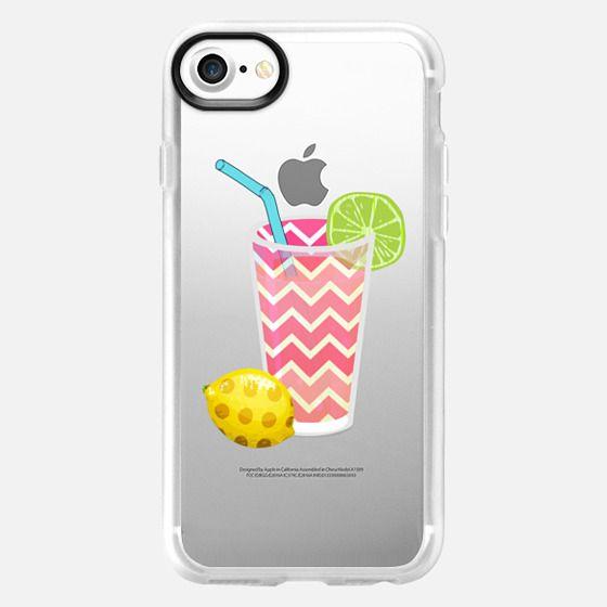 Summer Fruity Lemons and Limes Lemonade Juicy Drink on Transparent Background - Classic Grip Case
