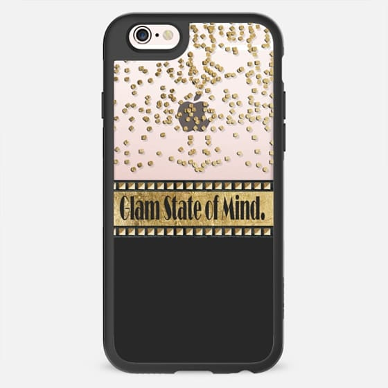 """Glam State of Mind."" Glamorous Faux Printed Gold Confetti, Studs, and Typography- Transparent -"