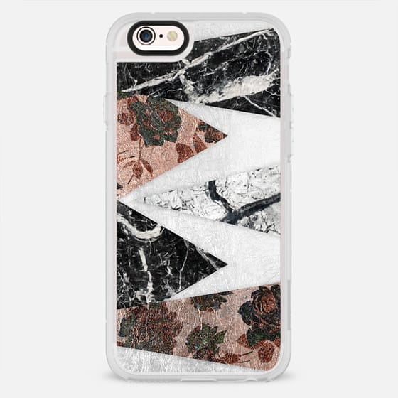 Chic Rose Pattern Faux Gold Black Marble White Marble Geometric Triangle Cuts on White Faux Foil - New Standard Case
