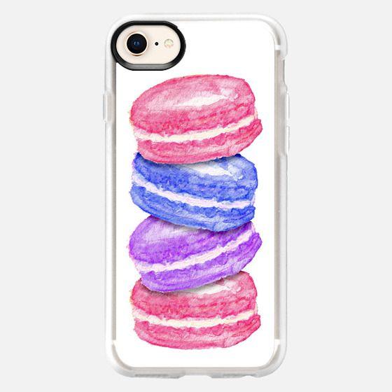 Pink Blue Purple Watercolor Painted Macaroon Cookies - Snap Case
