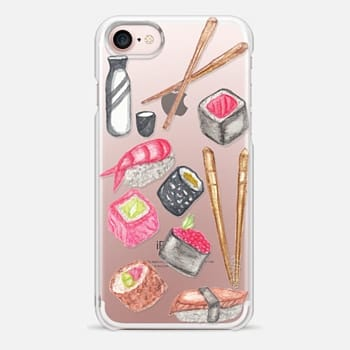 iPhone 7 Case Chopsticks Sake and Delicious Watercolor Sushi- Transparent