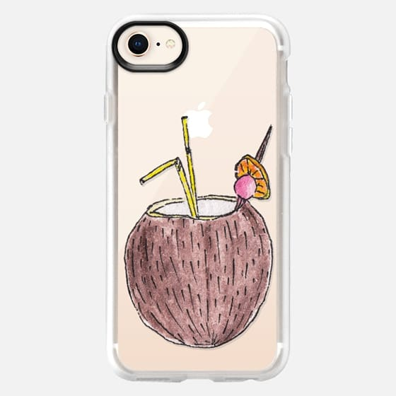 Cute Summer Tropical Coconut Fruity Drink in Hand Painted Watercolor with an Orange Cherry and a Straw- Transparent - Snap Case