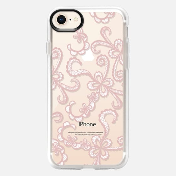Floral Lace Hand Drawn in Girly Blush Pink and White - Snap Case