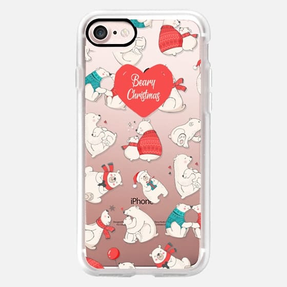 Beary Christmas Cute Holiday Polar Bears Illustration Pattern -