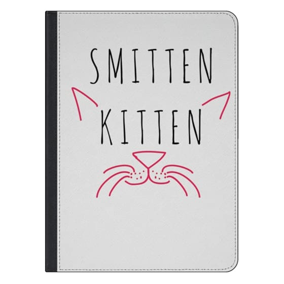 "12.9-inch iPad Pro Covers - Cute Girly Neon Pink and Black ""Smitten Kitten"" Cats Text Typography Animals Quote"