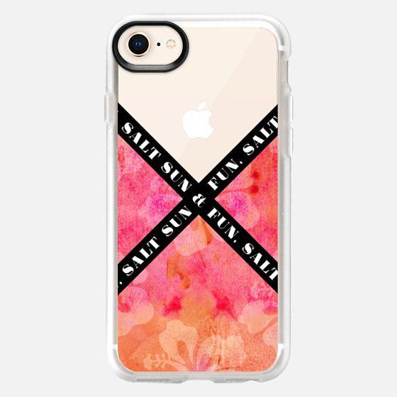 """Salt Sun & Fun"" Black & White Text Typography on Summery Orange & Pink Watercolor Painted Hawaiian Hibiscus Pattern- Transparent - Snap Case"