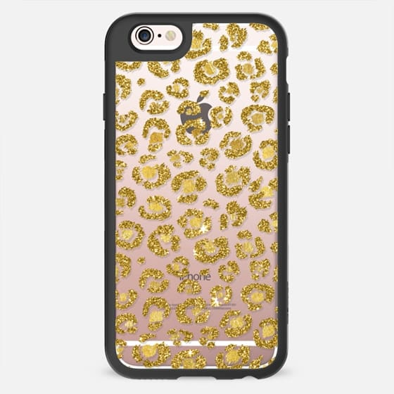Elegant & Pretty Faux Printed Gold Leaf & Glitter Leopard Pattern- Transparent -