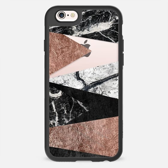 Elegant Modern Faux Printed Rose Gold & Black and White Marble Triangles- Transparent -