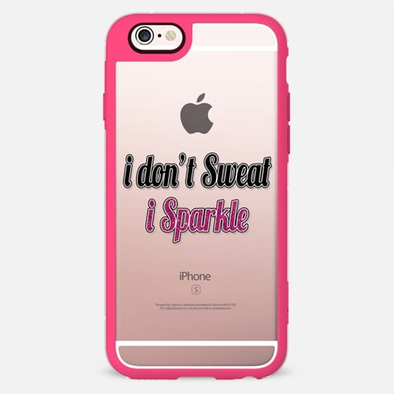 """I Don't Sweat, I Sparkle."" Faux Black and Pink Glitter Fitness Quote- Transparent -"