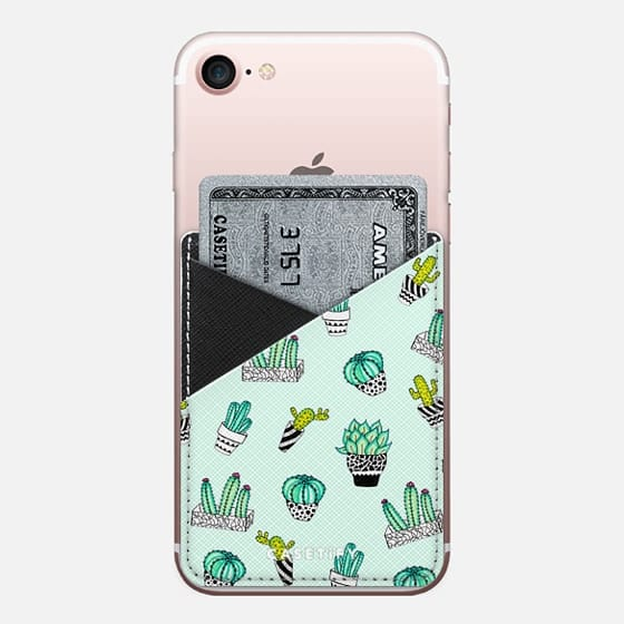 Summer Watercolor Cactus Black and White Pots on Mint Green - Saffiano Leather Phone Wallet