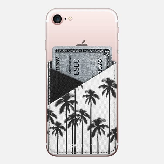 Black and White Tropical Summer Palm Trees - Saffiano Leather Phone Wallet