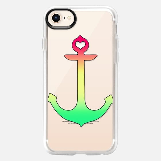 Spring Colored Pink Teal and Soft Yellow Heart Anchor Gradient on Transparent - Snap Case