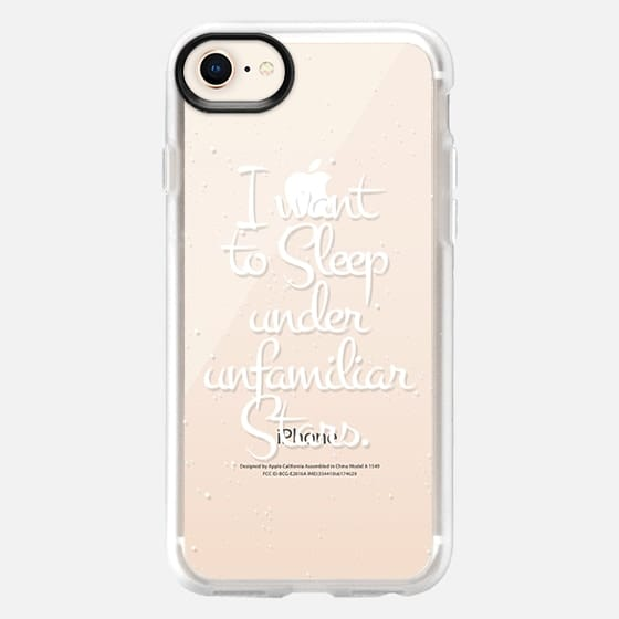 """""""I Want to Sleep Under Unfamiliar Stars."""" White Text Typography on Starry Sky- Transparent - Snap Case"""
