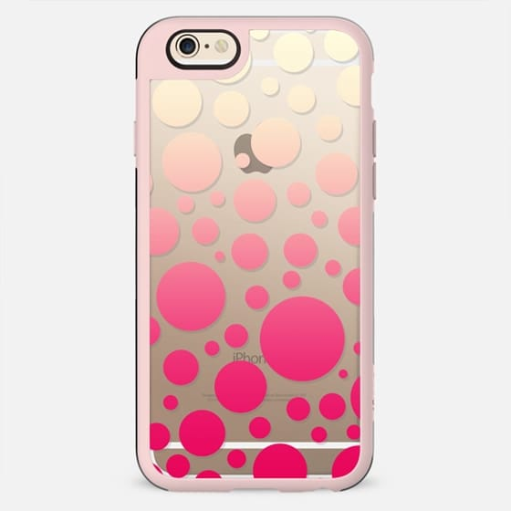 Girly Vintage White to Pink Gradient Polka Dots Pattern- Transparent - New Standard Case