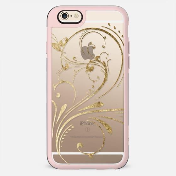 Elegant and Pretty Faux Gold Swirl- Transparent - New Standard Case