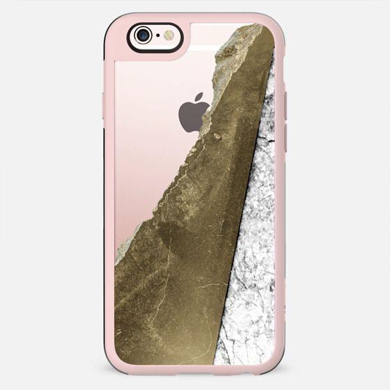 White Black Marble Faux Gold Edge Stone Design Transparent  - New Standard Case