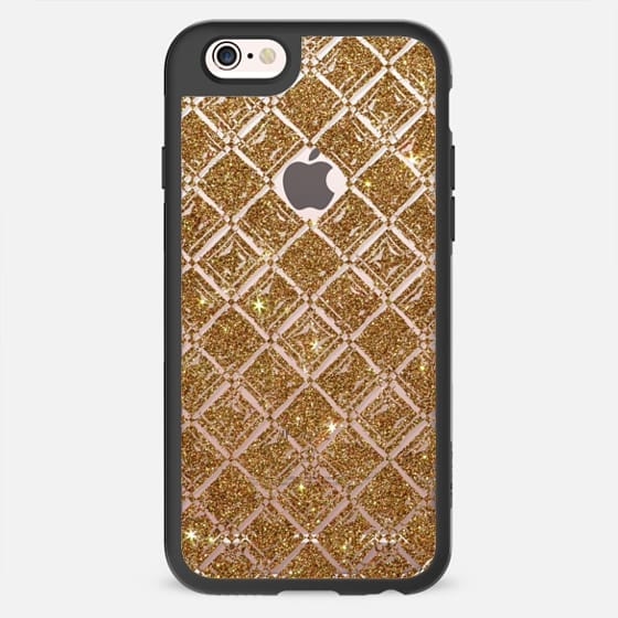 Swanky Gold Faux Printed Pink Glitter Diamond Pattern- Transparent -
