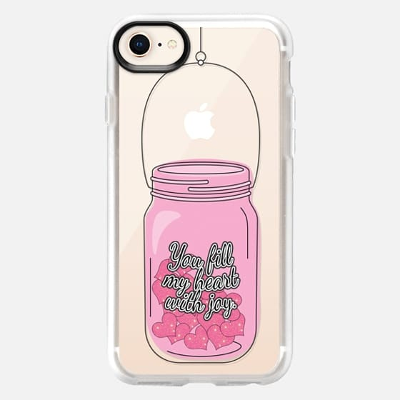 """""""You Fill My Heart with Joy."""" Typography and Girly Pink Hearts in Mason Jar- Transparent - Snap Case"""