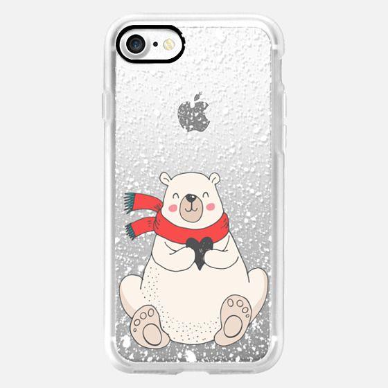 Polar Bear Heart and Winter Snow Holiday Illustration -