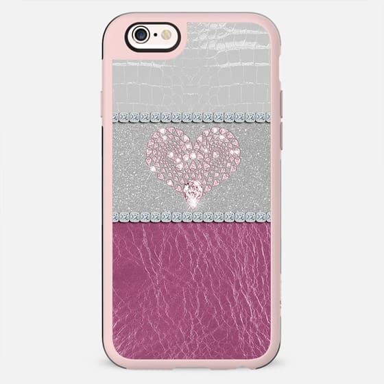Glamorous Pink Diamond Heart on Glitter and Diamonds with Pink and White Leather Image - New Standard Case