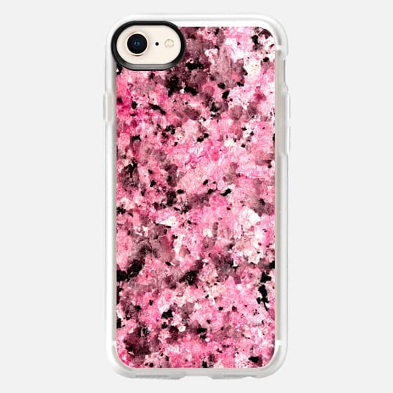 Girly Pink and Black Marble Stone Pattern - Snap Case