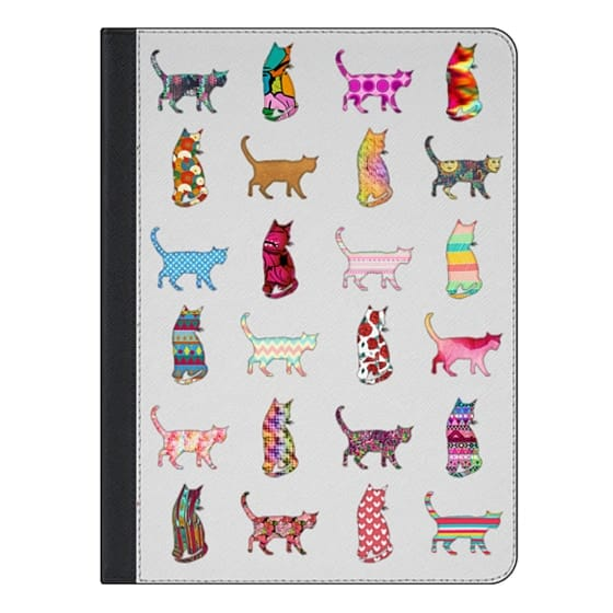 9.7-inch iPad Covers - Cool Funky Bright Neon Pattern Kitty Cats Animals
