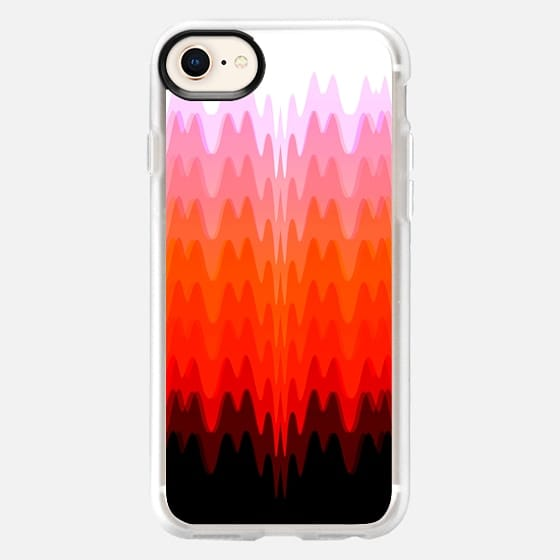 Wavy Abstract Pattern in White, Red, and Black Gradient Shades - Snap Case