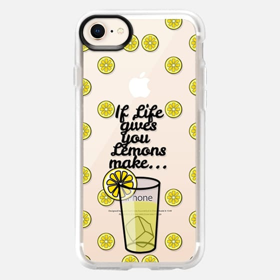 """If Life Gives you Lemons Make Lemonade"" Black Text Typography on Summer Fruity Lemons Pattern- Transparent - Snap Case"