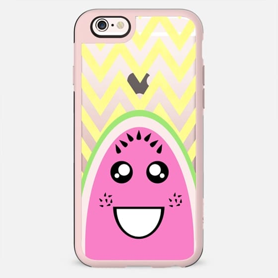 Cute Funny Watermelon Face on Yellow Zigzag- Transparent - New Standard Case