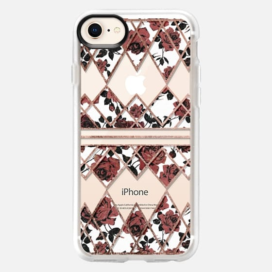 Elegant Rustic Red Roses on White with Rose Gold Geometric Triangles Pattern- Transparent - Snap Case