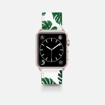 Leather Watch Band -  Tropical Green Watercolor Painted  Swiss Cheese Plant Leaves