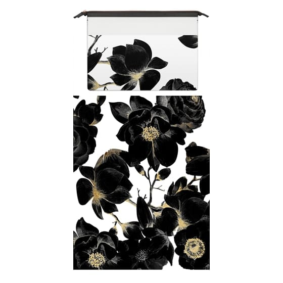 MacBook Pro 15 Sleeves - Black and Golden Cream Colored Elegant Floral Print on White