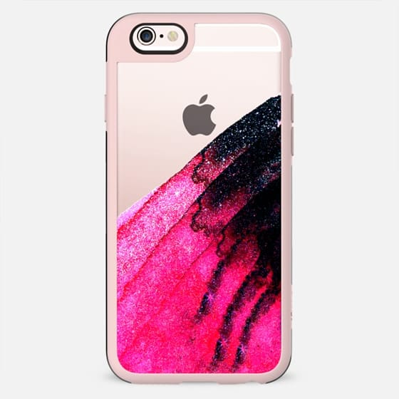 Bright Pink and Black Faux Glitter Watercolor Paint - New Standard Case