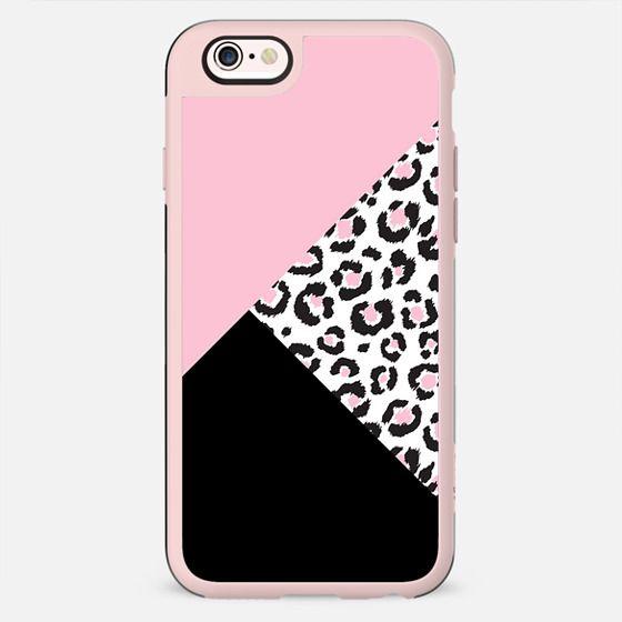 Girly Pink, Black, and Leopard Animal Print Tri-cut Pattern